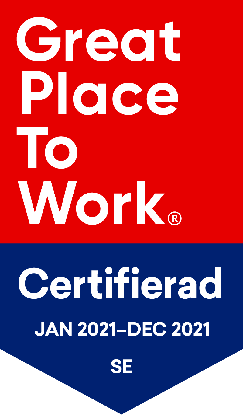 Great place to work - Certifierad